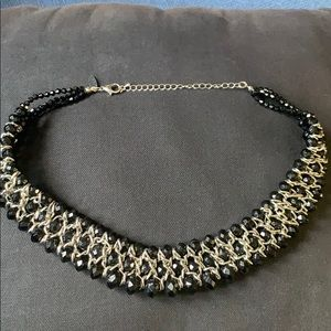 Black and silver choker type necklace